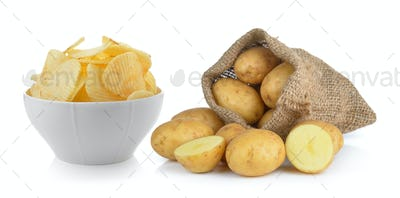 potato chips and potato in the sack isolated on white backgroun