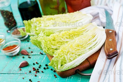 Chinese cabbage. Preparation of ingredients for kimchi cabbage. Korean traditional cuisine.