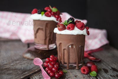 Mousse of chocolate with fresh berries