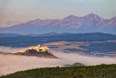 Scenic view of Spis castle and High Tatras, Slovakia