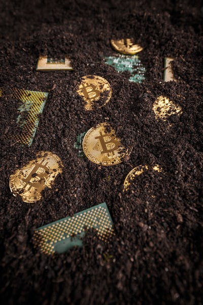 Golden bitcoin with processor