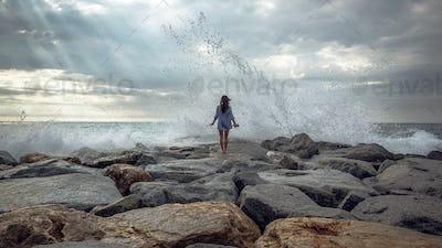 Wave Hitting Shore