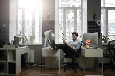 A man working in a modern design office