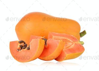 papaya on white background Clipping Path