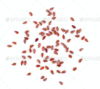 Flax seeds heap isolated on white background