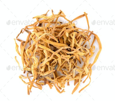 Dried Day Lily on white background
