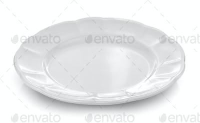 white plate white background