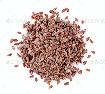 Flax seeds heap on white background