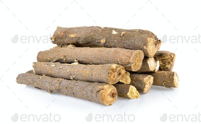 dried Liquorice roots isolated on white background