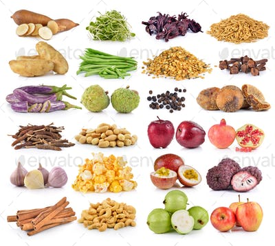vegetable and fruit on white background