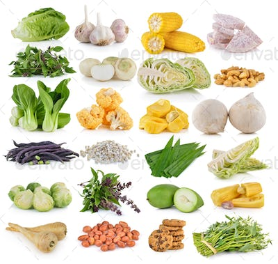 vegetable and grians on white background