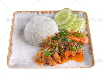 Fried rice with squid, salmon, shrimp in ceramic plate  isolated