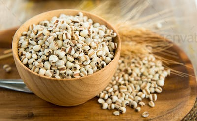 Millet the organic grain food in wood bowl on wood table