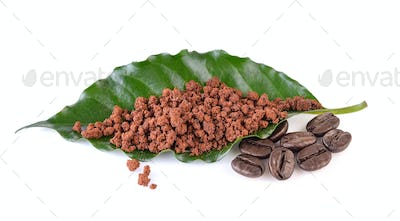 instant coffee with leaves coffee on white background