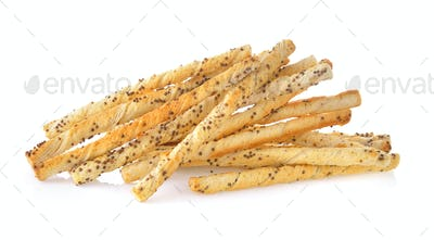 bread stick with sesame on white background