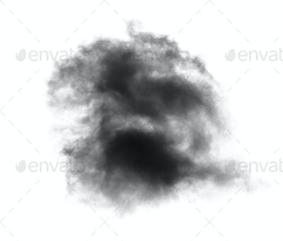 black cloud with a blanket of smoke on white background