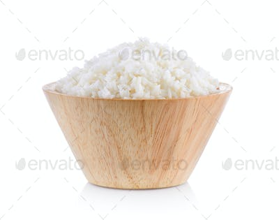 jasmine rice cooker in wood bowl on white background