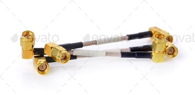 High-frequency SMA connectors isolated on white background. Gold