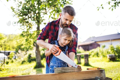 Father and a small daughter with a saw outside, making wooden birdhouse.