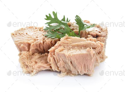 Canned tuna on white background