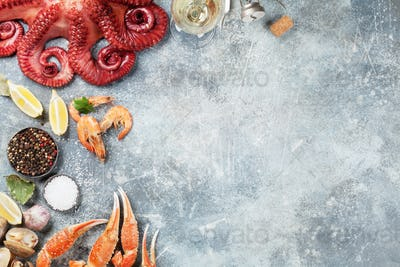 Seafood and wine. Octopus, lobster, shrimps