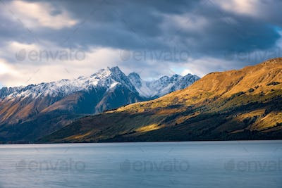 Landscape view of Glenorchy wharf, lake and moutains, New Zealand