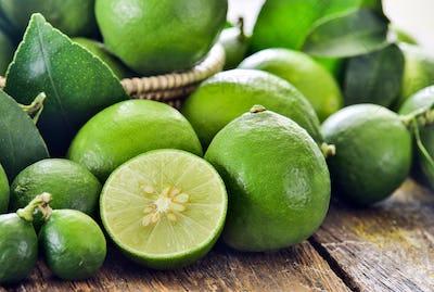 fresh limes on table