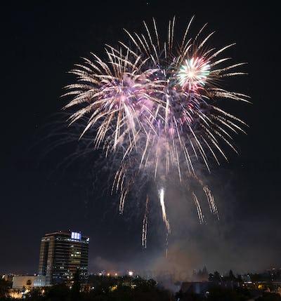 Fourth of July Celebration Fireworks over Downtown San Jose
