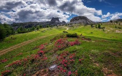 Mountain landscape of the Dolomites mountains