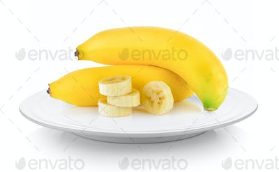 bananas in plate on white background