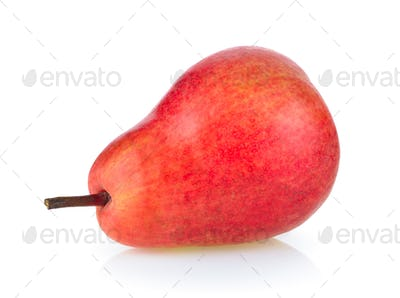 red pear on white background