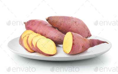 sweet potato in a plate isolated on a white background