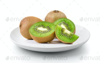 kiwi fruit in a plate isolated on a white background
