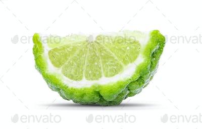 Bergamot slice isolated on white background