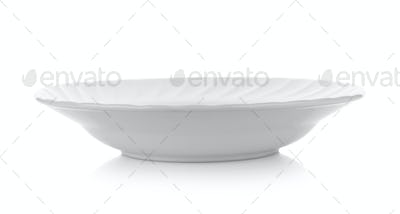 white plate on white background