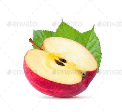 Red apple fruit slice (cut) isolated on white background