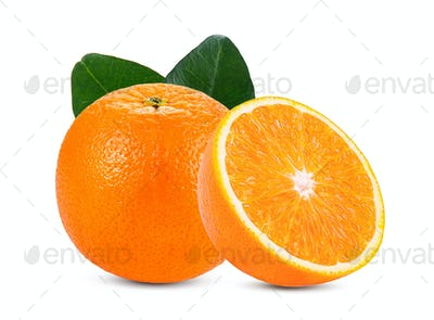 orange isolated on white background. Full depth of field with cl