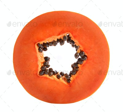 sliced ripe papaya with seed on with background. Full depth of f