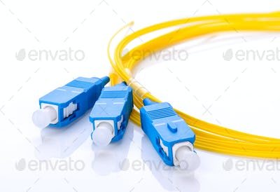 fiber optic coupler with SC connectors on white background