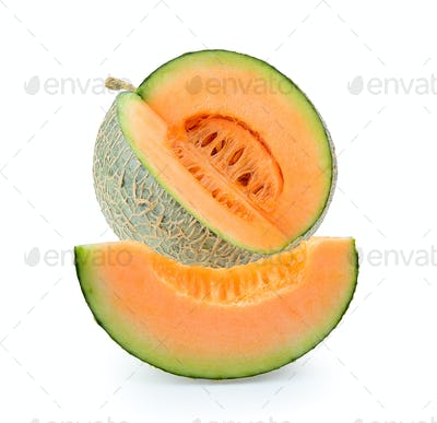 cantaloupe melon isolated on white background. Full depth of fie