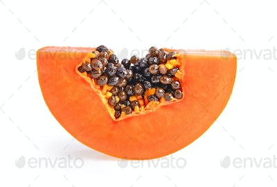 sliced ripe papaya with seed on with background