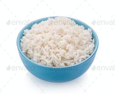 rice in blue bowl on white background