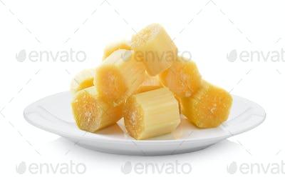 Sugarcane plate on white background