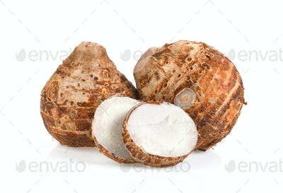 sweet taro root isolated on white background