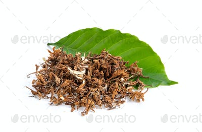 dry coffee flower tea on white background