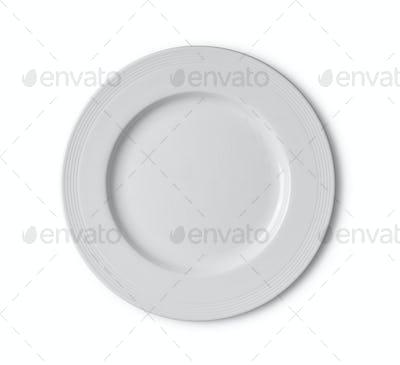 white ceramic plate on white background