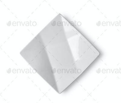 empty white ceramic plate on white background
