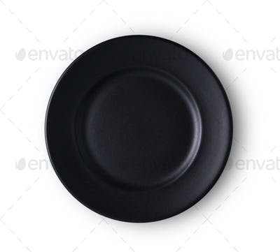 bllack ceramic plate isolated on white background