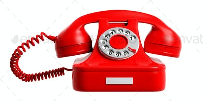 Red vintage telephone isolated cut out on white background.