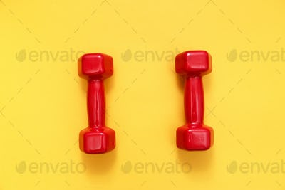Two red womens dumbbells on yellow background
